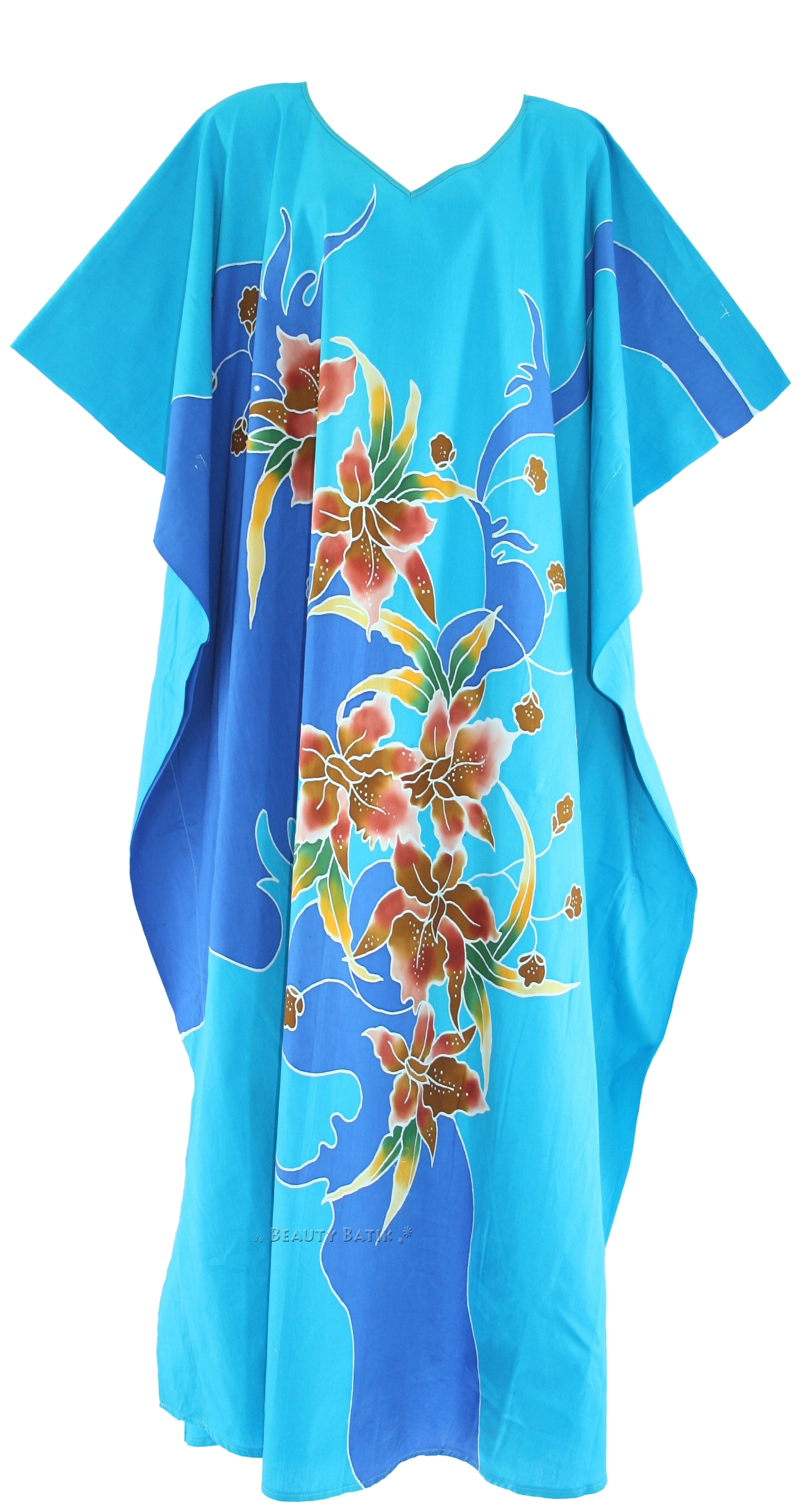 Blue Batik Cotton Caftan Kaftan Loungewear Dress Plus Sz