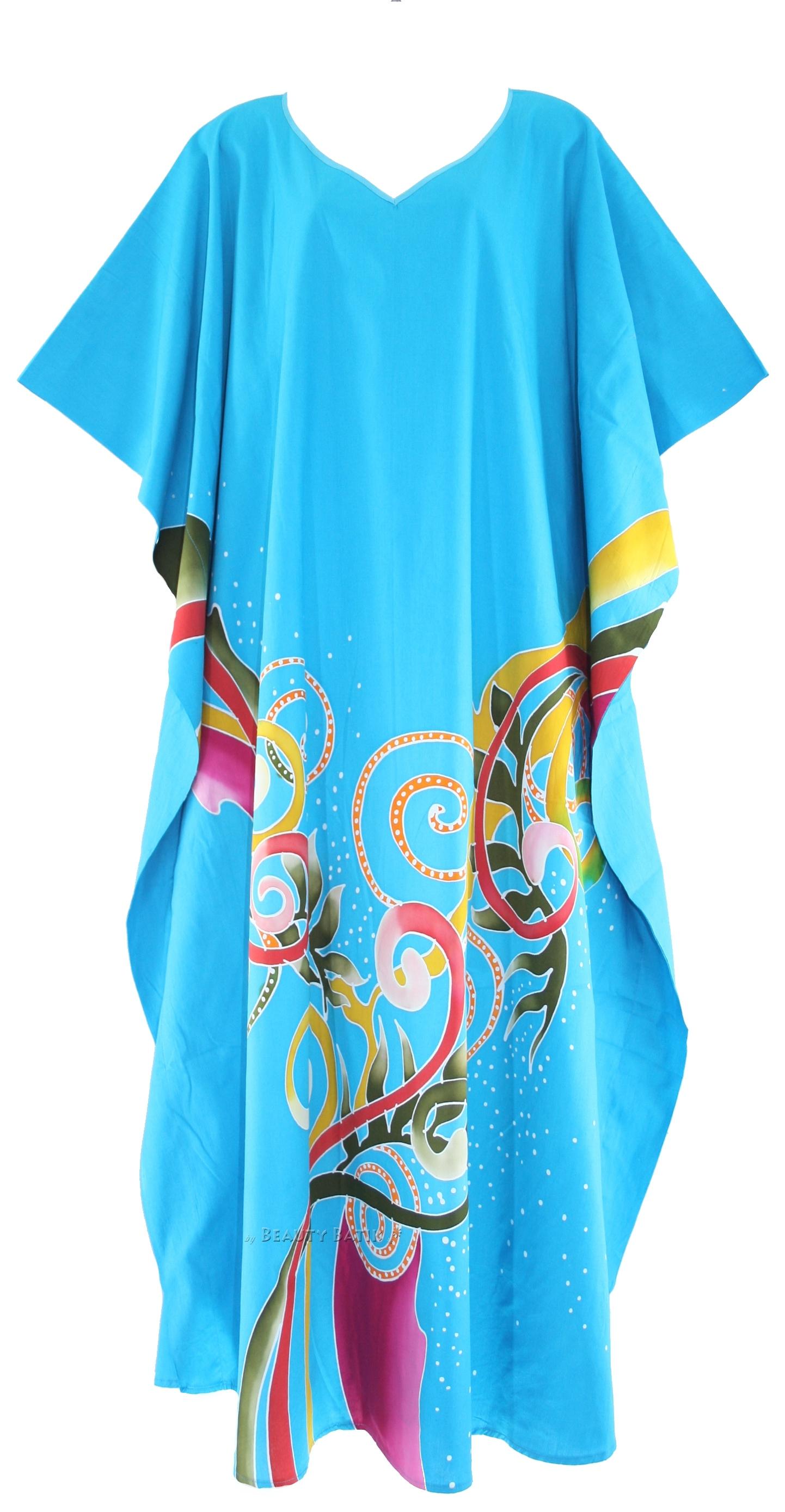 BLUE Batik Cotton Caftan Kaftan Loungewear Dress PLUS SZ 1X 2X 3X 4X ...