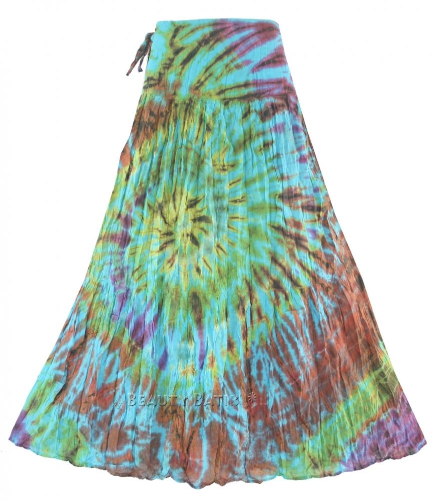 boho hippie tie dye wrap skirt m l xl 12