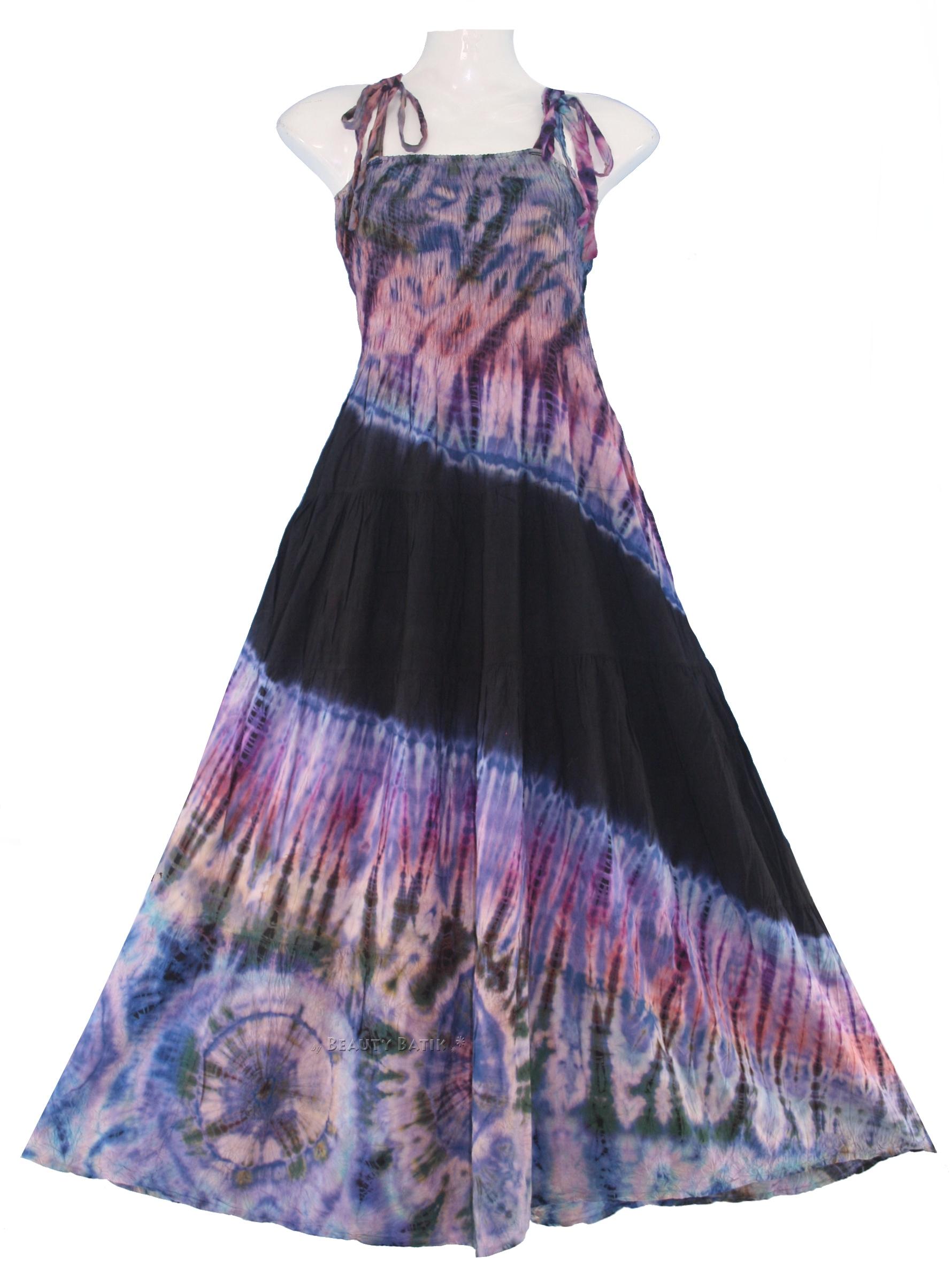 new boho hippie tie dye summer maxi sun dress sz l