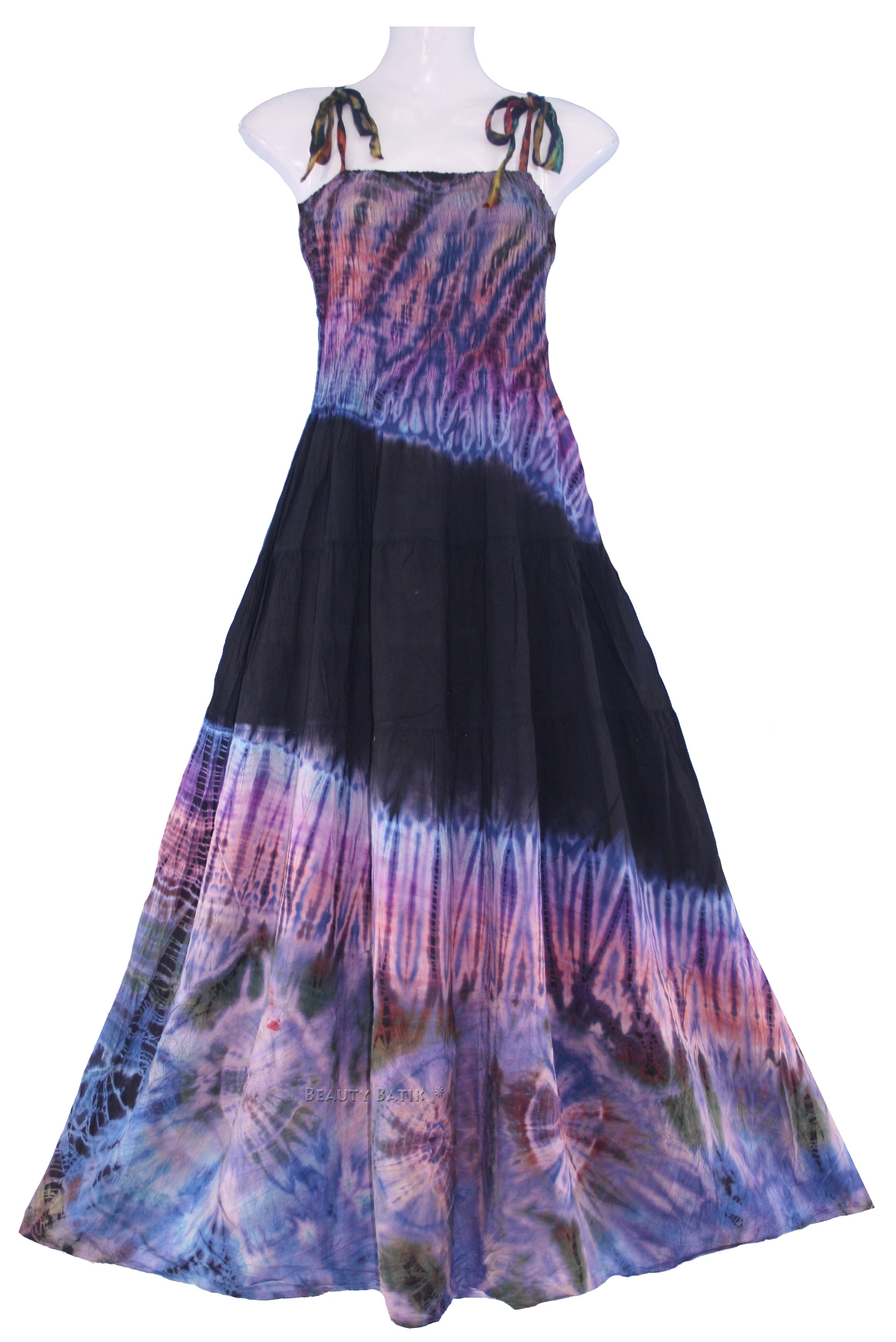 new boho hippie tie dye summer maxi sun dress sz l 14 16