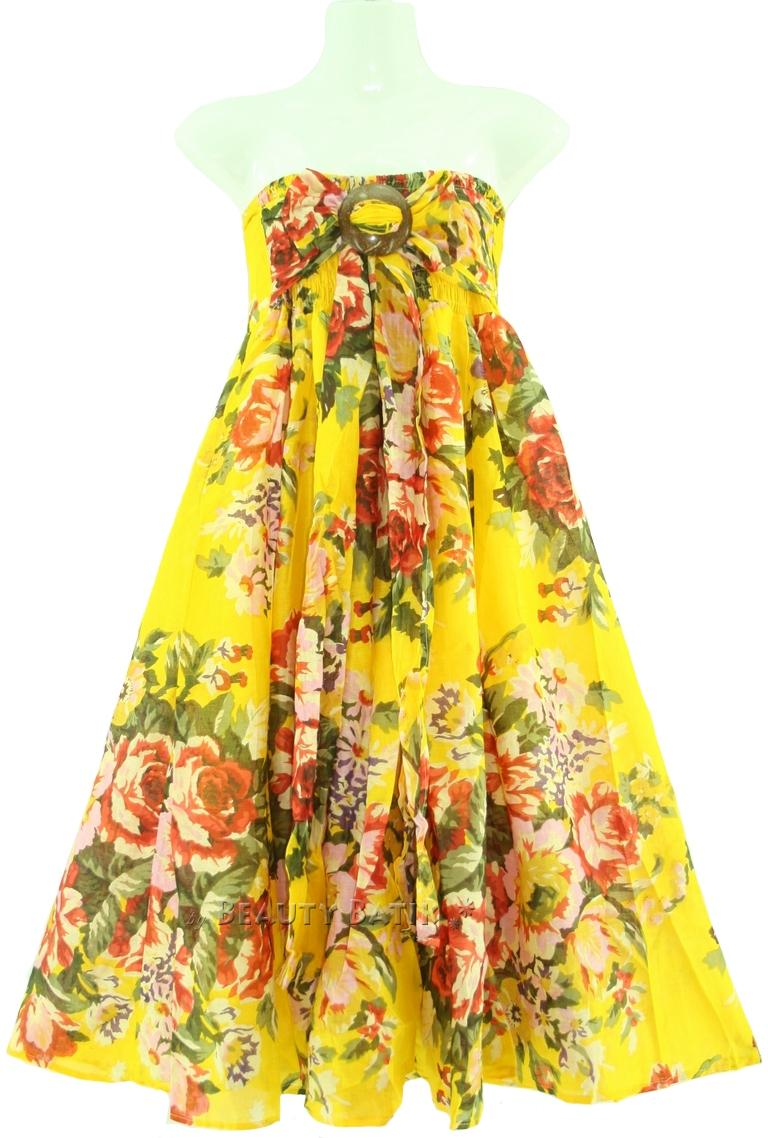 Yellow Floral Sexy Summer Sun Dress Sz S M 8 10 12 Ebay