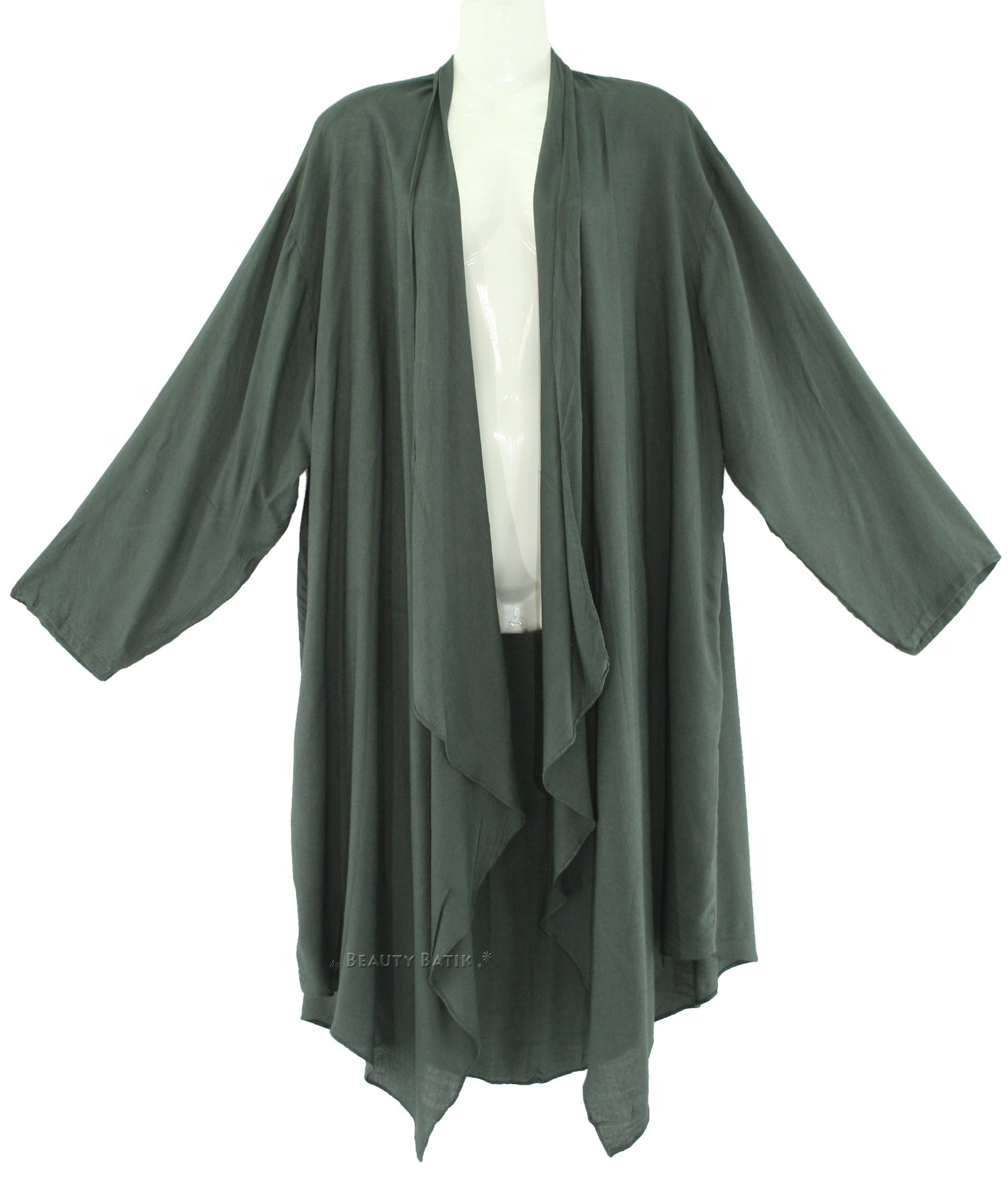 Women Long Sleeve Plus Size Cardigan Cover up Duster Jacket 1X 2X ...