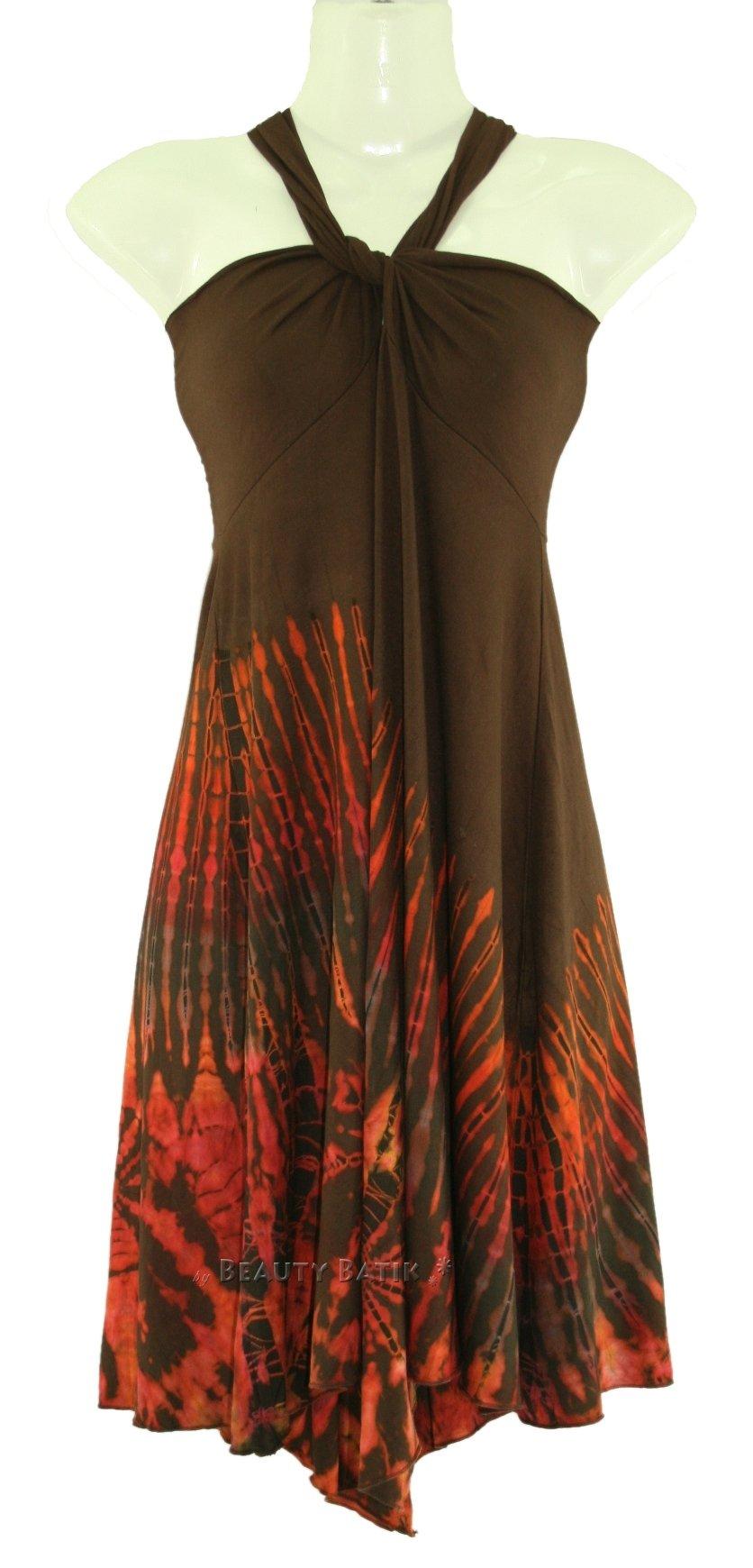 brown tie dye hippie sexy summer sun dress skirt sz s m 8 10 12 ebay. Black Bedroom Furniture Sets. Home Design Ideas