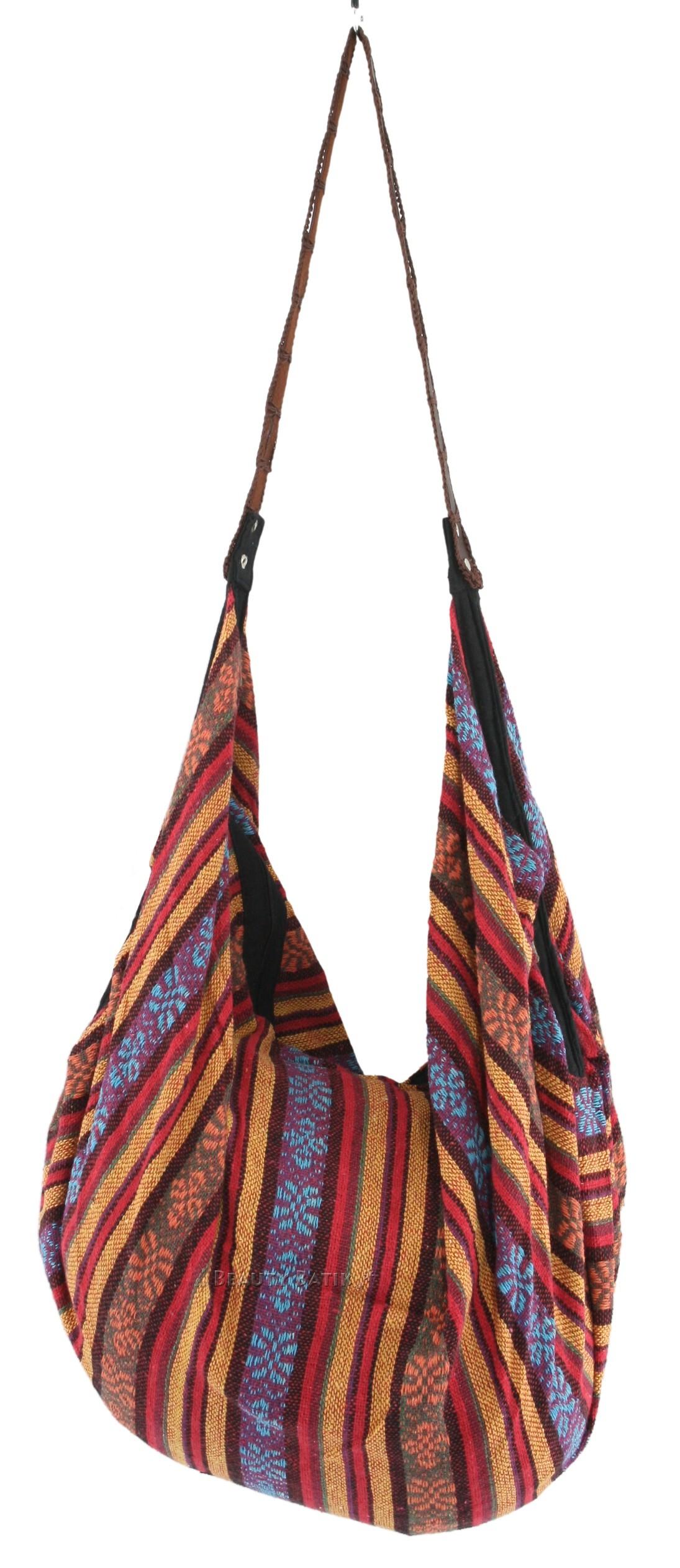 Knitting Pattern Hobo Bag : Boho Knitted Cotton Hobo Tote BAG Multicoloured eBay