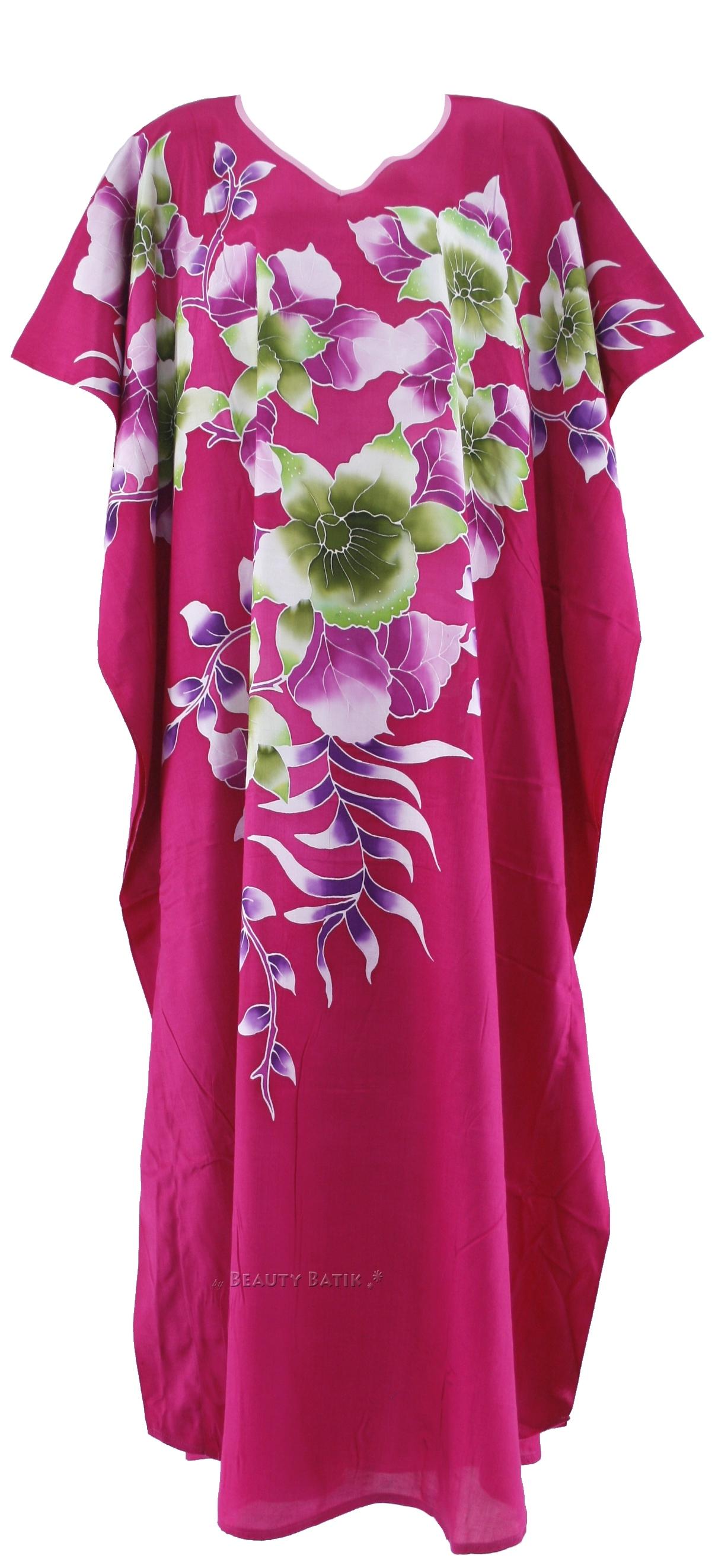 FUCHSIA Batik Caftan Kaftan Dress SZ 14 16 L XL 1X | eBay