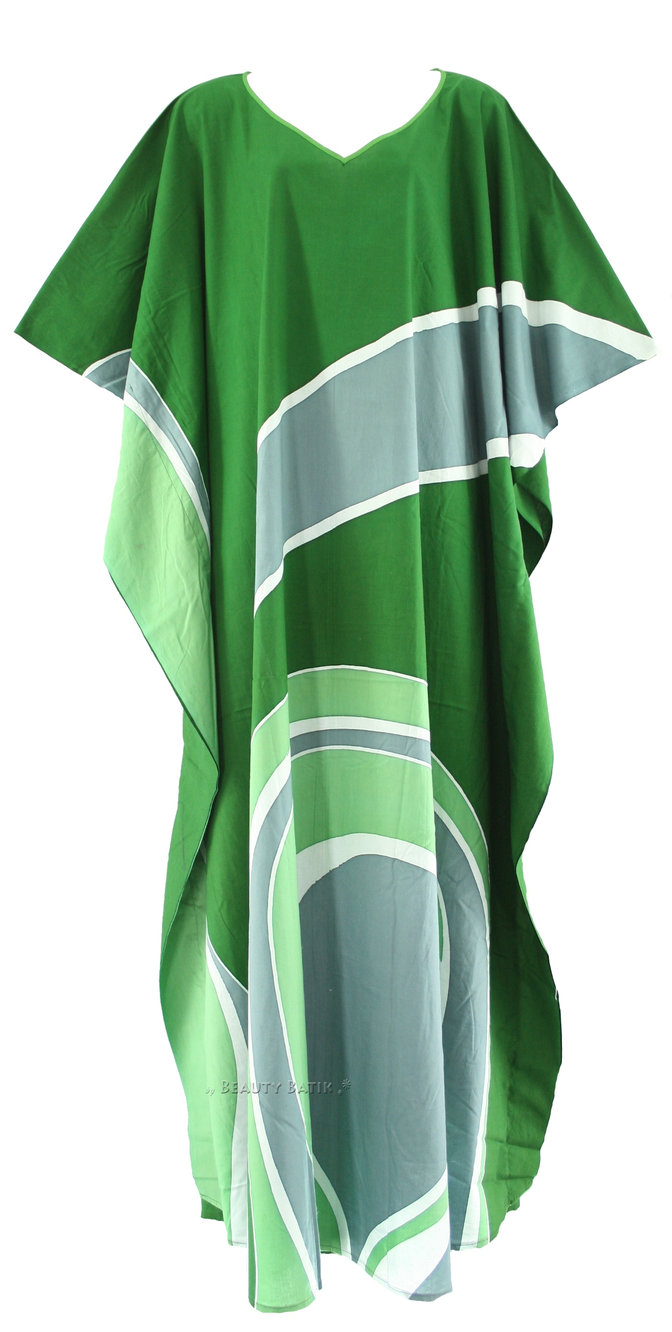 Green Batik Cotton Caftan Kaftan Loungewear Dress Plus Sz